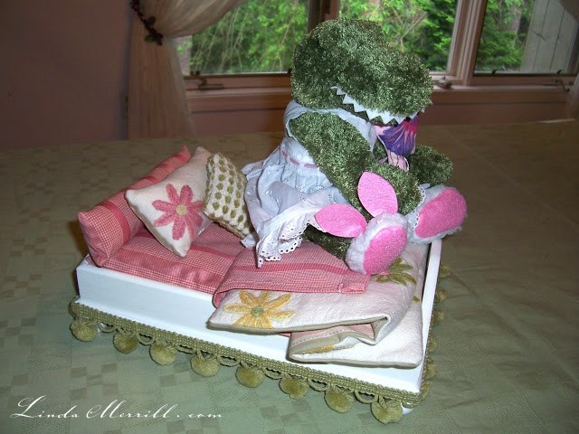 Linda Merrill Design toy bed custom bedding pink floral dragon