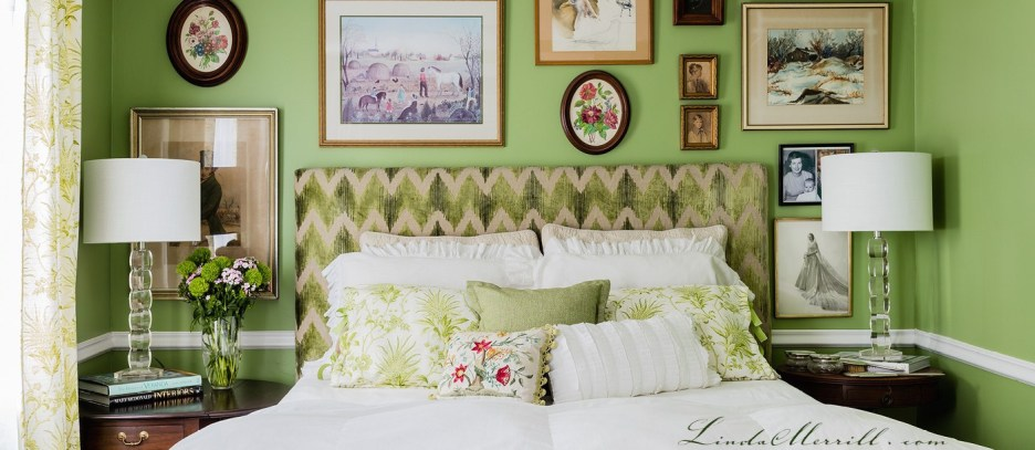 Linda Merrill design bedroom custom pillows bedding green white floral