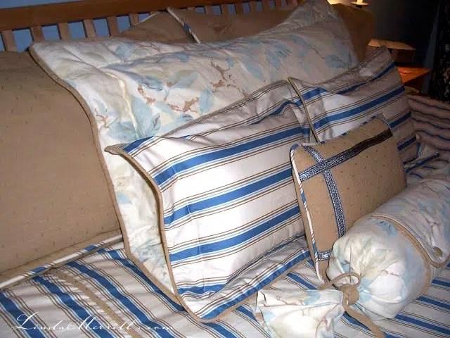 Linda Merrill design custom pillows and bedding blue white beige