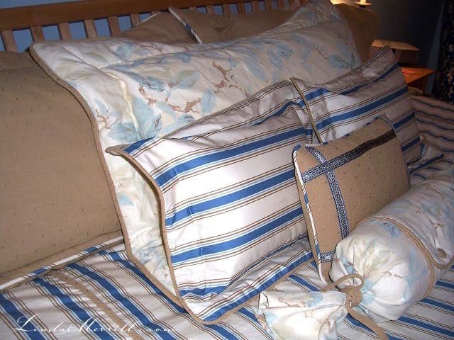 Linda Merrill design custom pillows and bedding blue white beige