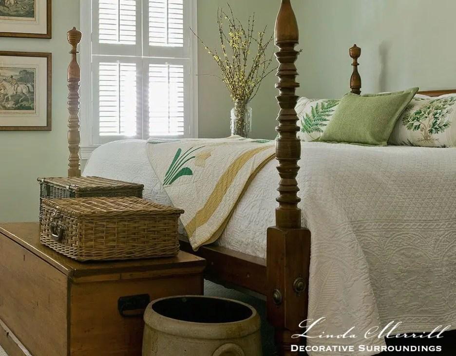 Linda Merrill design custom pillows bedding green white vintage bedroom