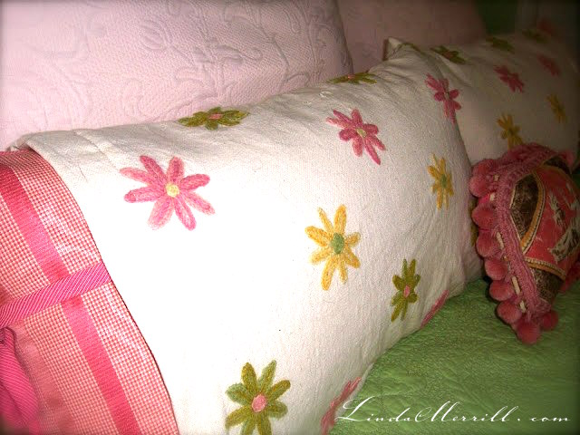 Linda Merrill design custom pillows bedding pink and green floral