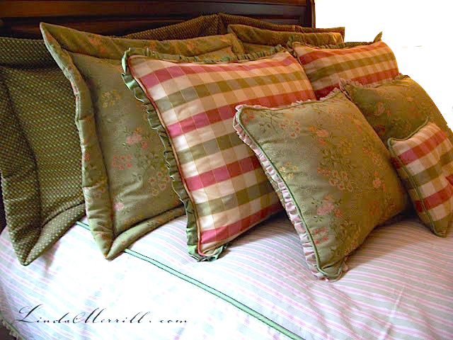 Linda Merrill design custom pillows bedding pink and green