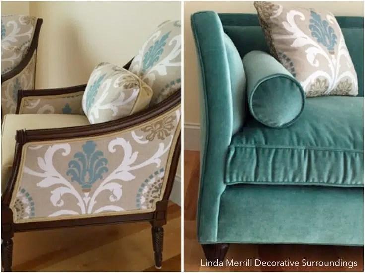 Linda Merrill design velvet sofa and custom pillows teal beige