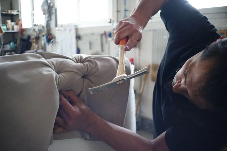 upholsterer furniture maker tufted sofa