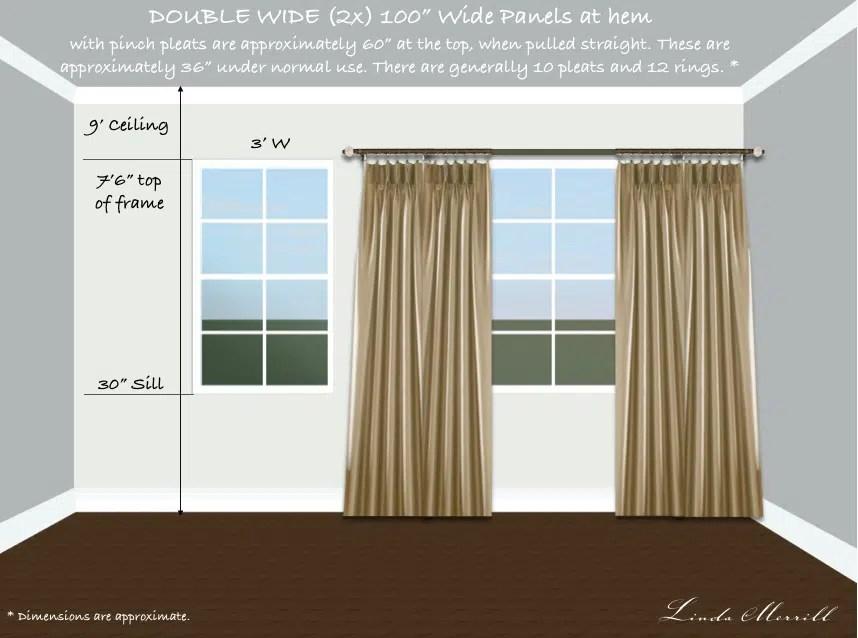 Drapery panel double width single window short