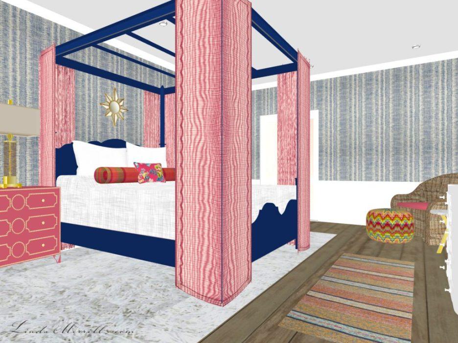 Linda Merrill The Coastal Collection Nantucket Pink Blue Bedroom 1