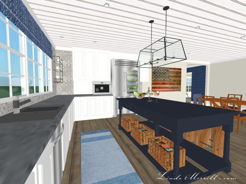 Linda Merrill The Coastal Collection blue white kitchen Hampton rug 1