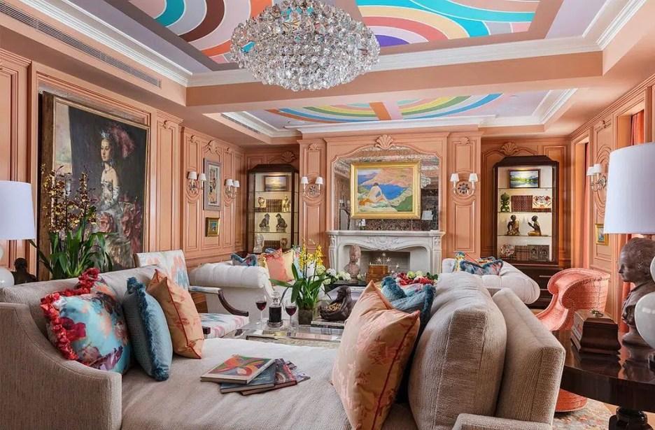 KIPSBAY18 Barbara Ostrom peach living room design