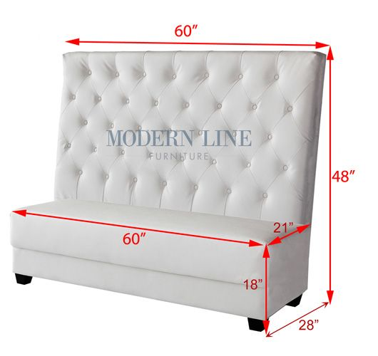 Modern line high back dining banquette with measurements
