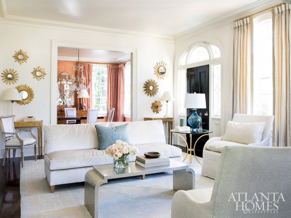Suzanne Kasler Photographed by Erica George Atlanta Homes Buckhead White Living Room