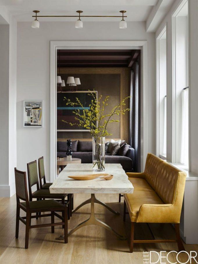kevin-dumais-apartment Eric Piasecki photo Elle Decor dining banquettes settees