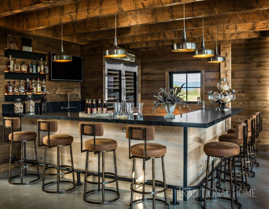 Vermont Farmhouse Fantasy Lillian August Traditional Home Barn wood beams bar top