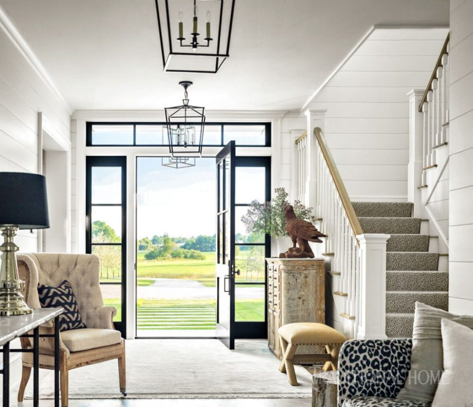 Vermont Farmhouse Fantasy Lillian August Traditional Home Exterior White Entry hall
