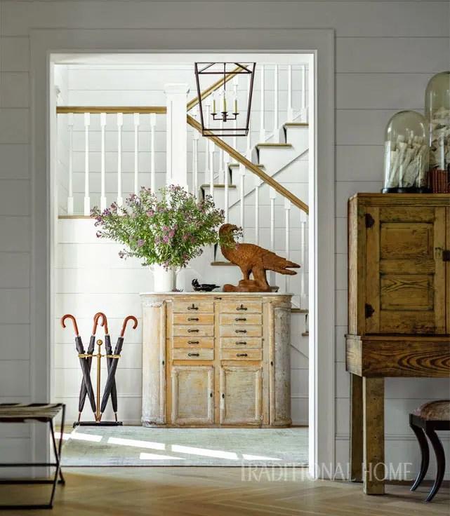 Vermont Farmhouse Fantasy Lillian August Traditional Home Exterior White foyer antiques