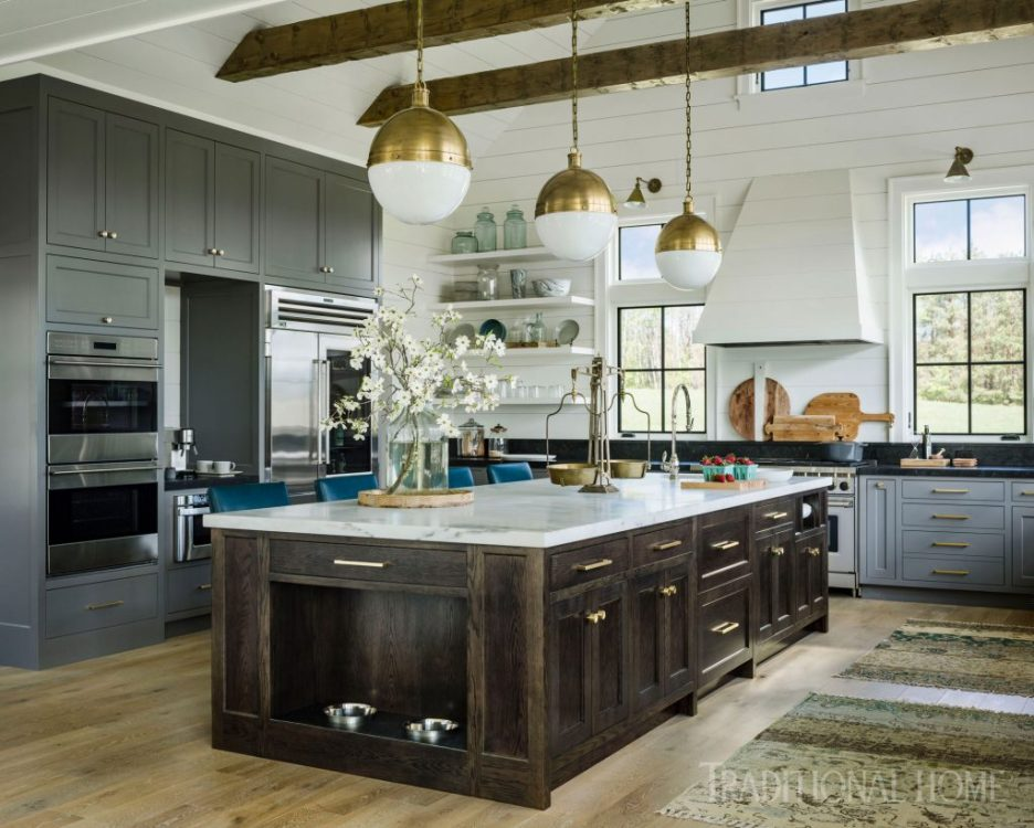 Vermont Farmhouse Fantasy Roundtree Construction Traditional Home Kitchen shiplap brass gray and white cabinets