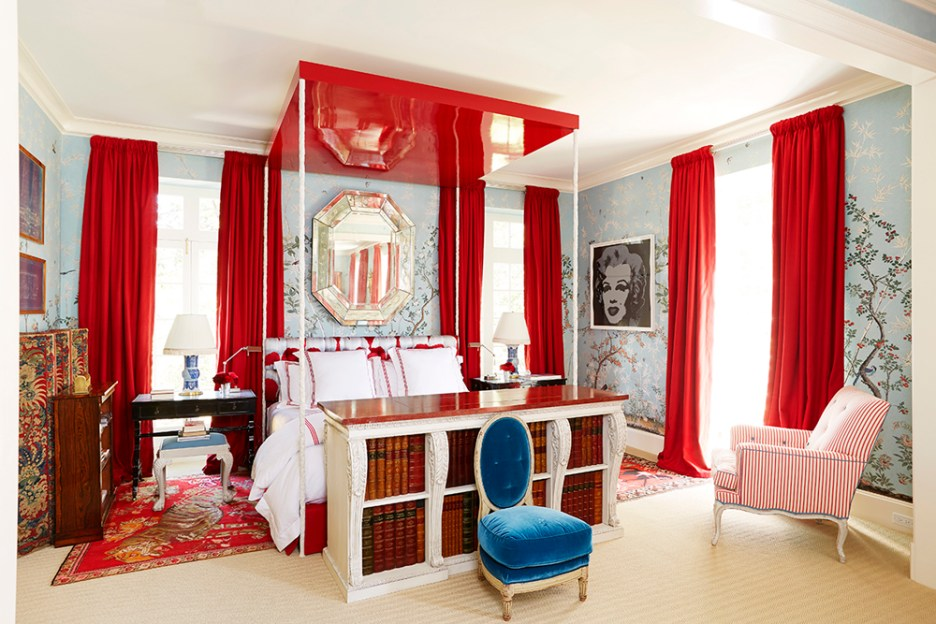 DESIGNER- Miles Redd PHOTOGRAPHER- Thomas Loof Marilyn Monroe Red blue bedroom Famous faces