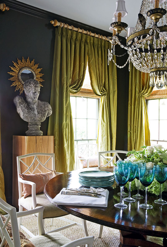 Design Ann Shipp and Roger Higgins Photo Reid Rollis Traditional Home How high drapery panels
