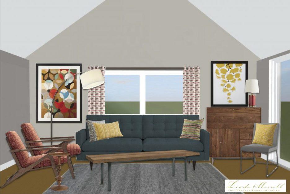 Linda Merrill window treatment height high drapery panels vaulted ceiling low drapery