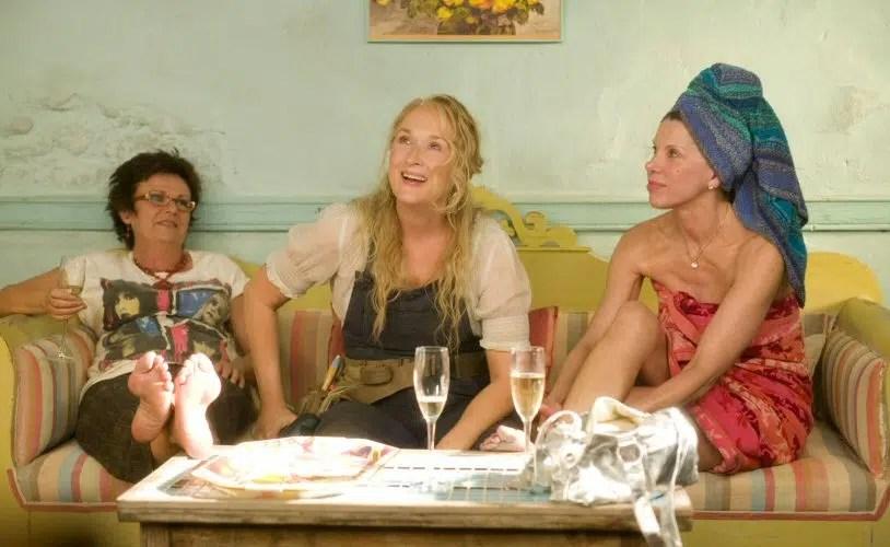 Mamma Julie Walters Meryl Streep Christine Baranki green bedroom green and striped sofa