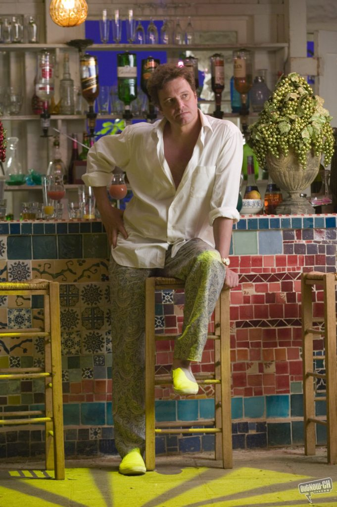 Mamma Mia Colin Firth at colorful mosaic tile bar