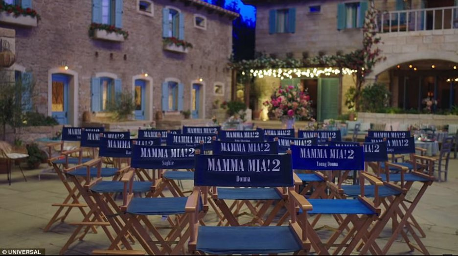 Mamma Mia Here We Go Again Movie Set directors chairs