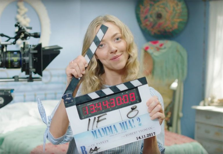 Mamma Mia Here we Go again Amanda Seyfried clapper in bedroom
