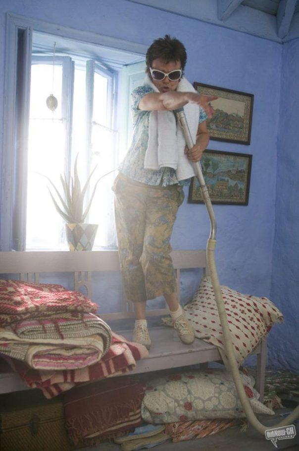 Mamma Mia Julie Walters singing in blue bedroom