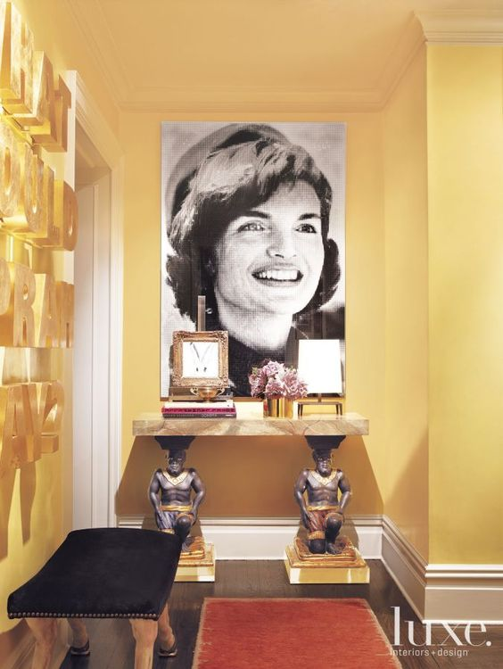 Robert Passal design Joshua McHugh photography Jackie Kennedy in yellow foyer Famous Faces