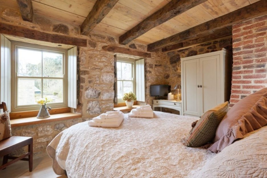 Tudor stone bastle Northumberland England Photo by David Webb double bedroom Stone cottage