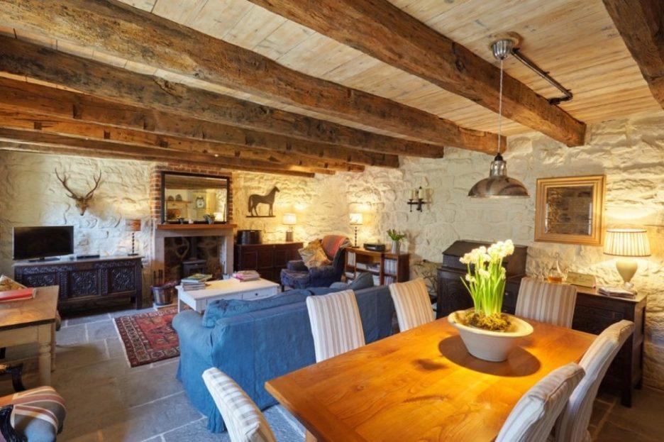 Tudor stone bastle Northumberland England Photo by David Webb main room Stone cottage