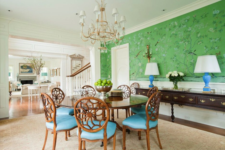 Burdge associates architects custom degournay wallpaper dining room green blue accents sharp objects