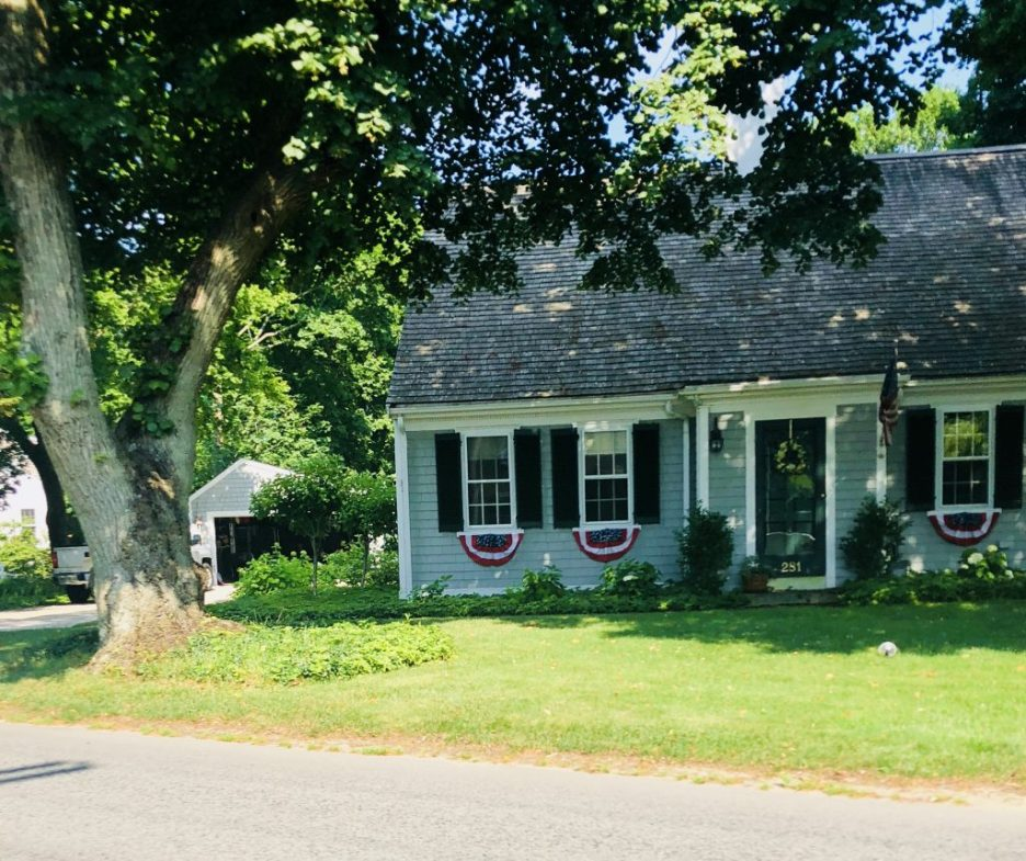 Light Blue House black shutters door bunting July 4th Independence Day Duxbury MA