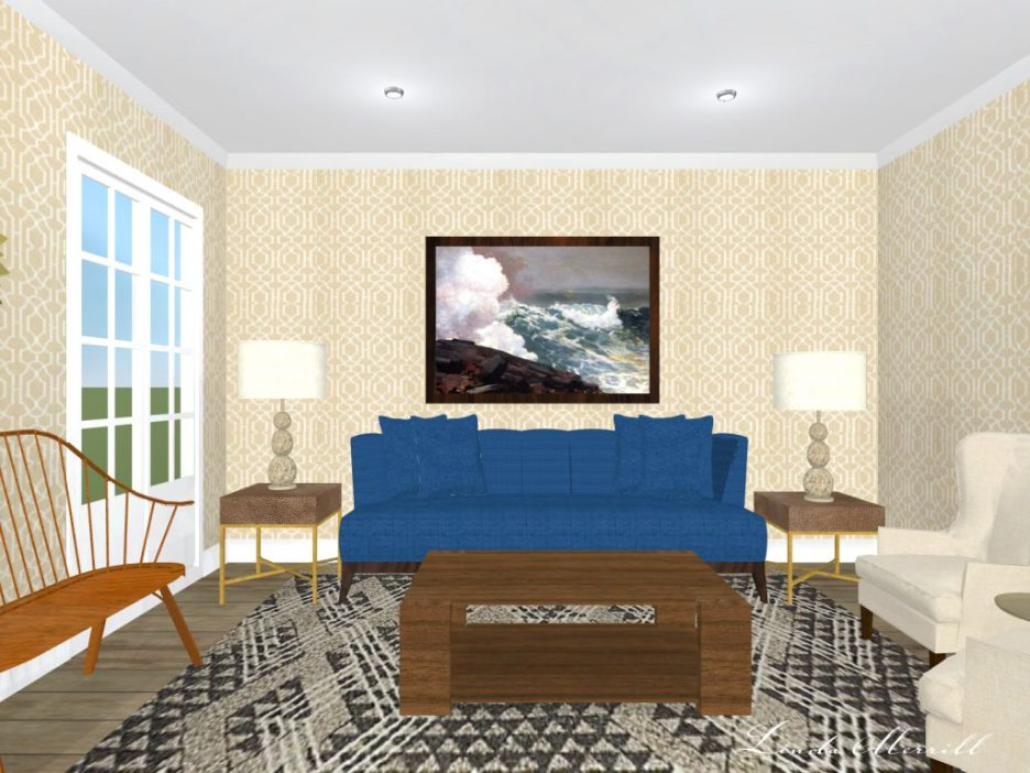 Linda Merrill Rendering living room trellis wallpaper blue beige gray no accessories