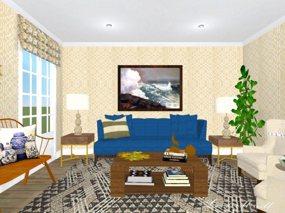 Linda Merrill Rendering living room trellis wallpaper blue beige gray with accessories