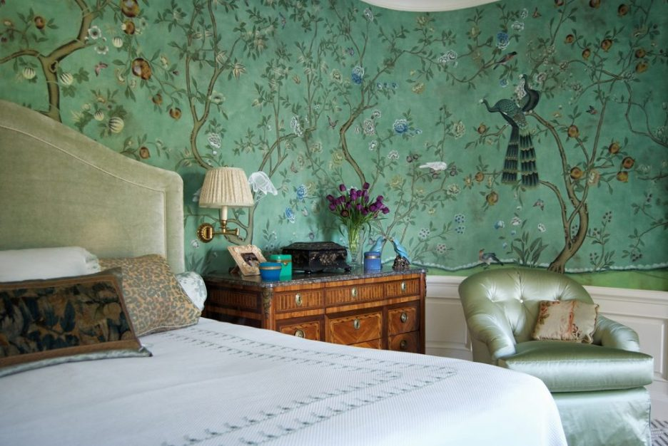 St Laurent wallpaper degournay design in standard design colours on custom blue Edo painted silk with custom antique finish. Interior design by Karol Banhart sharp objects