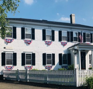 White House black shutters bunting July 4th independence Day Duxbury MA