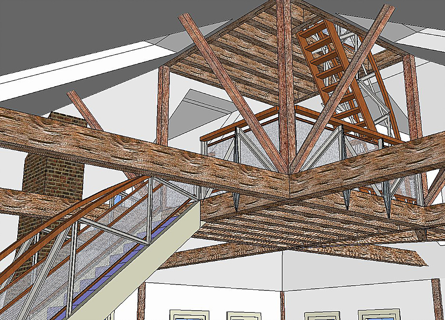 Newburyport Modern carriage house conversion Andrew Sidford Architect rendering beams