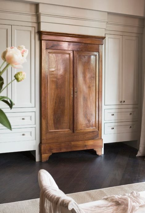 Linda McDougald Design antique armoire built-ins