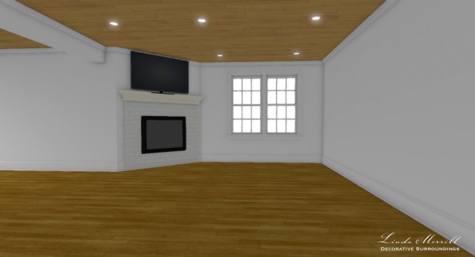 Linda Merrill interior design renderings sunroom family room empty room 3