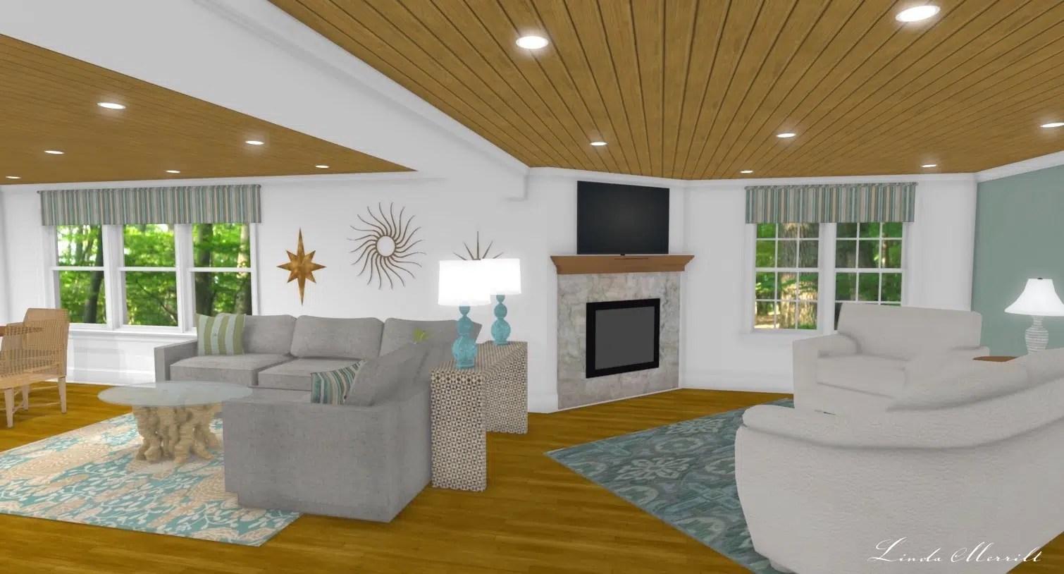 Linda Merrill interior design renderings sunroom family room room 1