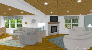 Linda Merrill interior design renderings sunroom family room room 1