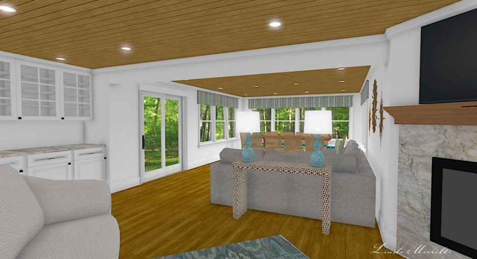 Linda Merrill interior design renderings sunroom family room room 2