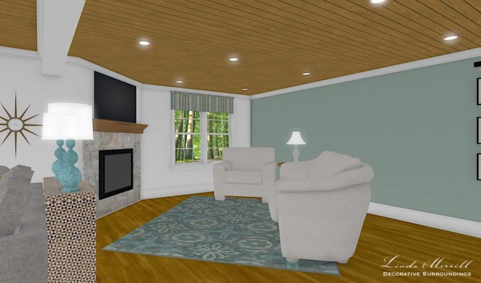 Linda Merrill interior design renderings sunroom family room room 6