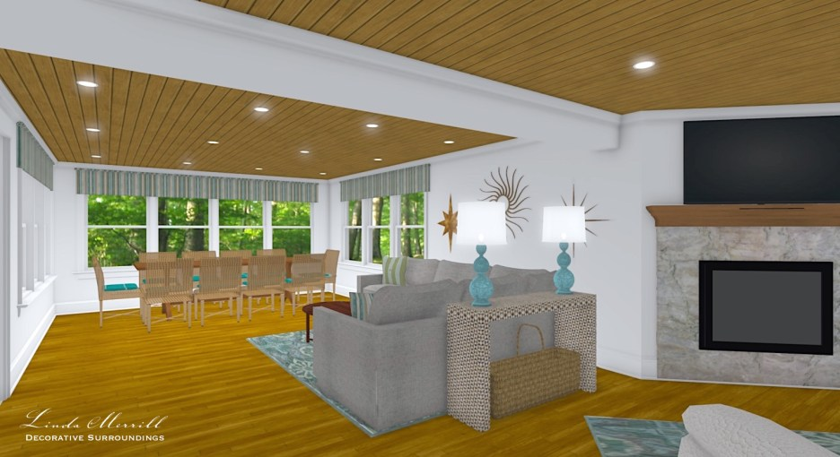 Linda Merrill interior design renderings sunroom family room room 7