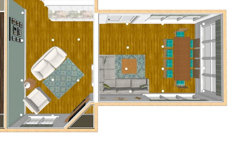 Linda Merrill interior design renderings sunroom family room room overhead view