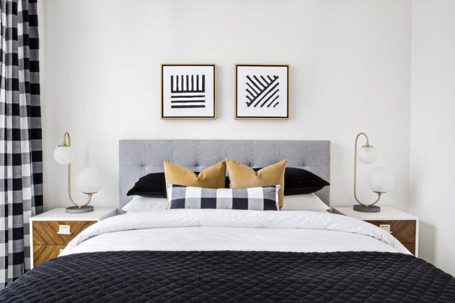Lindye Galloway designer Chad Mellon Photographer Domino Buffalo check navy blue mod bedroom