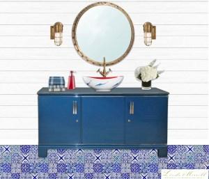 London Basin Company Henrietta vessel sink nautical fish blue white red bathroom design Linda Merrill