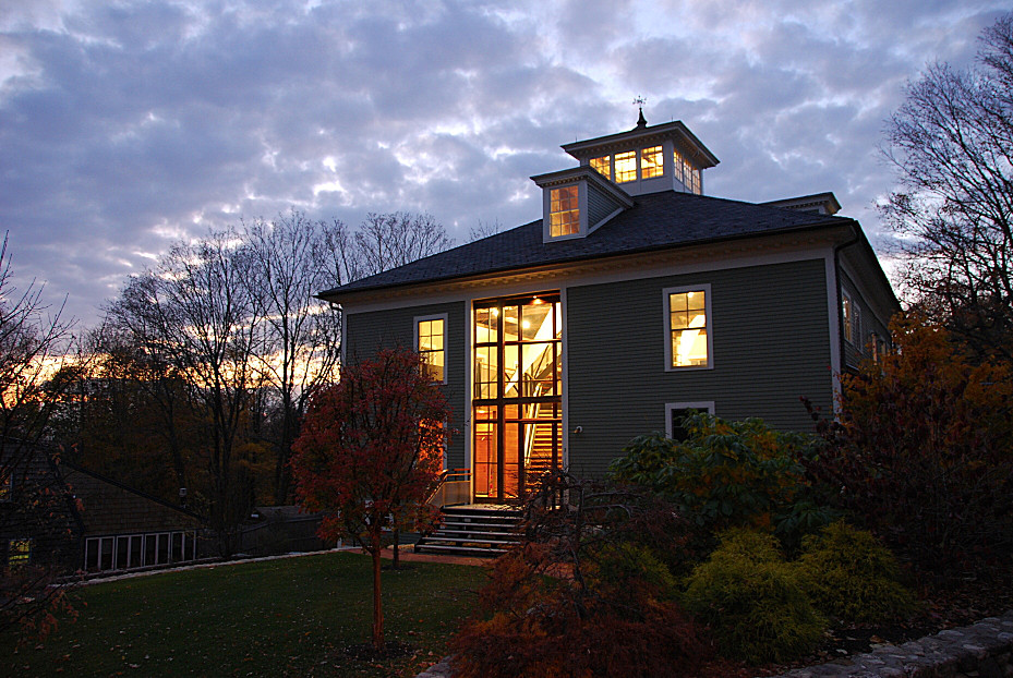 Newburyport Modern carriage house conversion Andrew Sidford Architect nighttime