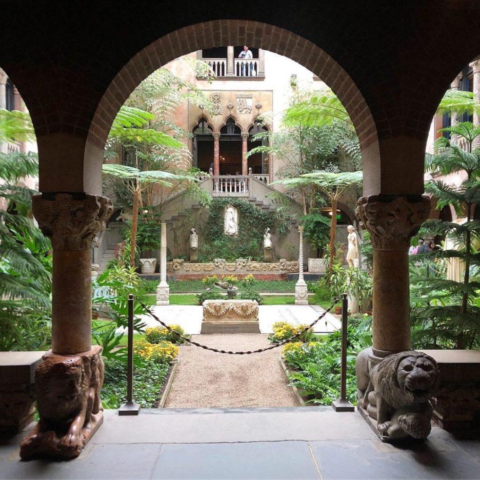 Linda Merrill staycation Isabella Stewart Gardner courtyard arches